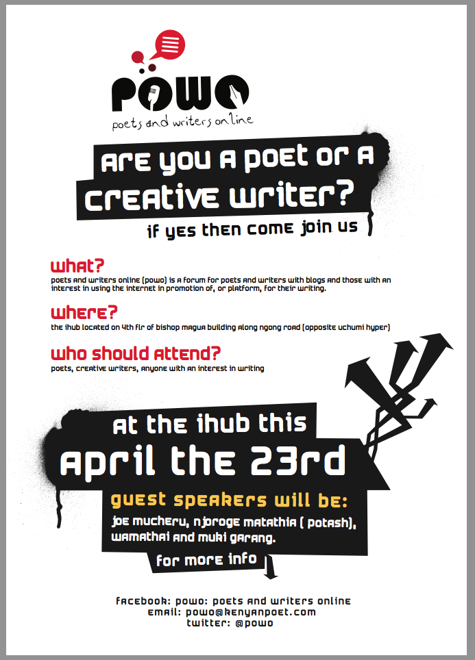 POWO(Poets and Writers Online) Meetup, 23rd April at the IHub